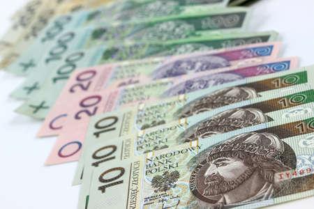 Polish banknotes - PLN Polish Zloty on white background
