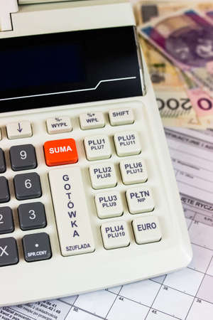 Close up of electronic cash register Stock Photo