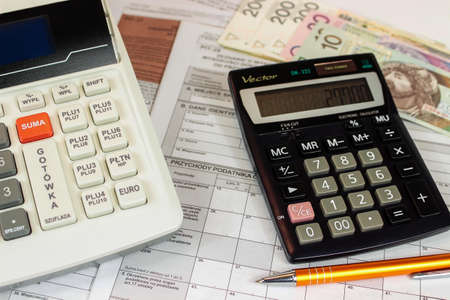 Cash register and calculator with with annual PIT settlement forms