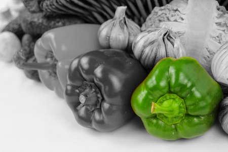 Green pepper Color Splash, composition with vegetables