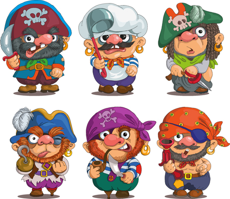 Funny cartoon. Characters. Pirates set. Isolated objects. Illustration