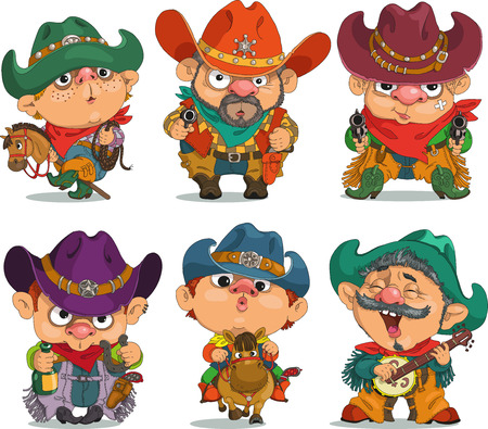 humour: Cartoon  cowboy.                                                                            Funny cartoon. Characters. Cowboy set. Isolated objects. Illustration