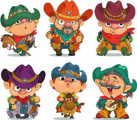 Cartoon Cowboy. Funny cartoon. Charaktere. Cowboy-Set. Isolierte Objekte.
