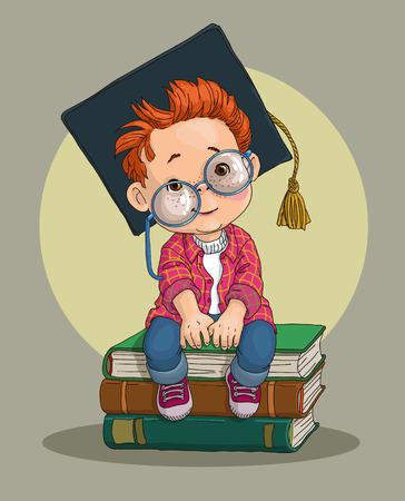 boy in academic cap Ilustrace