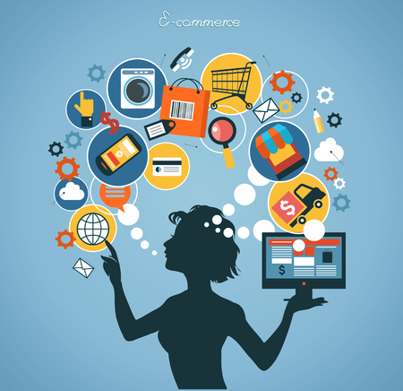home shopping: Silhouette woman shopped online store. E-shopping concept. Illustration