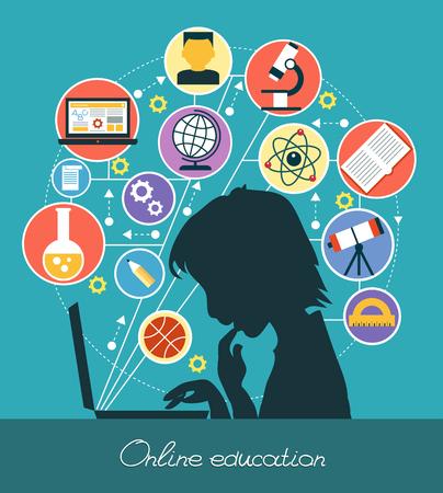 concepto: Iconos de la educación. Silueta de un niño rodeado de iconos de la educación. La educación en línea Concepto. Vectores