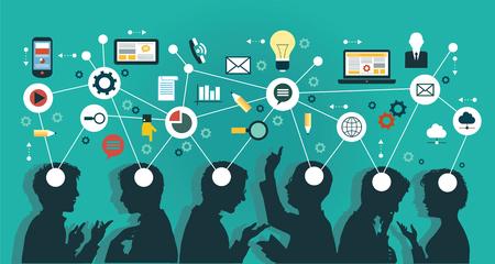 comunicación: Mapa Mental equipo - Ilustración Vectores