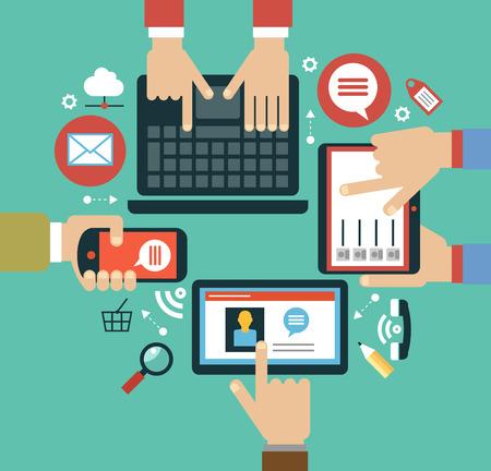 concepto de aplicaciones móviles Concepto de aplicaciones móviles. Ilustración de diseño plano Mano humana con teléfono móvil, tableta, computadora portátil e iconos de interfaz