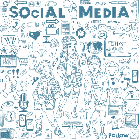 Hand drawn illustration set of social media sign and symbol doodles elements. Group of modern teenagers.