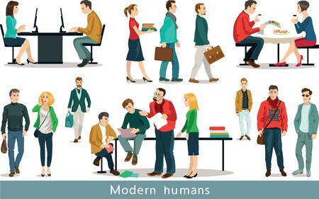 Grupo de hombres modernos que trabajan en la oficina. Conjunto de ilustraciones. Objetos aislados. Foto de archivo - 45835402