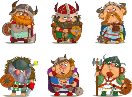 medieval: Cartoon vikings Funny cartoon.