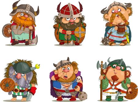 medieval: Vikingos de dibujos animados divertido de la historieta. Vectores