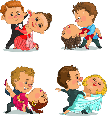 ballroom dance: Funny cartoon couple dancing the waltz and tango. Isolated objects. Illustration