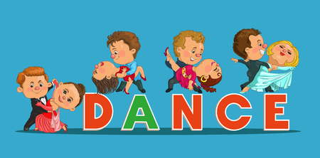 waltz: Funny cartoon couple dancing the waltz and tango. Isolated objects. Illustration