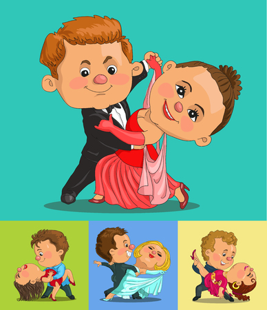 elegantly: Funny cartoon couple dancing the waltz and tango. Isolated objects. Illustration