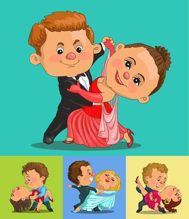 baile caricatura: Pareja de dibujos animados divertido que baila el vals y el tango. Objetos aislados.