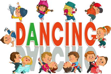 Grappige cartoon grappig paar dansen de wals en tango, Hip-Hop. Geïsoleerde objecten. Stock Illustratie