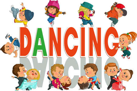baile hip hop: Historieta divertida pareja divertida bailando el vals y el tango, Hip-Hop. Objetos aislados.