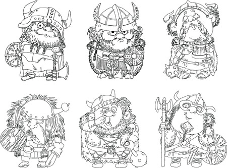 period: Characters. Isolated objects. Vector Cartoon funny vikings coloring. Made black outline.