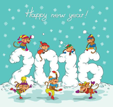 Netter Winter Neujahrsfest-Karte mit niedlichen Cartoon Affe und 2016 Figuren. Standard-Bild - 46197565