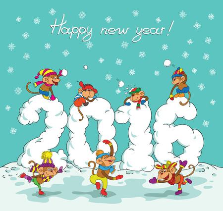 Cute winter chinese new year card with cute cartoon monkey and 2016 figures. Illustration