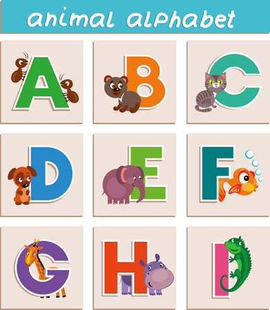 e alphabet: Animal Alphabet. Letter A,B, C, D, E, F, G, H, I