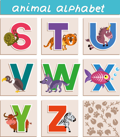 Vector Animal Alphabet. Letter, S,T,U,V,W,X,Y,Z