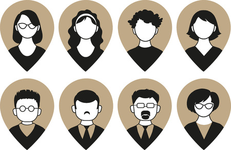 profile picture: Set of vector men and women with business avatar profile picture Illustration