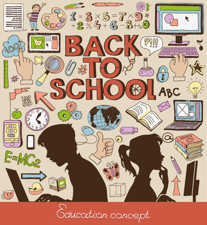 Back to school - doodle set, education concept, silhouettes of students. Çizim