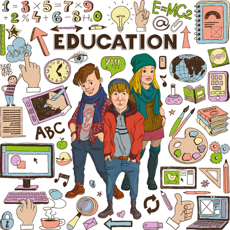 medium group of people: Back to school - doodle set, education concept, Group of modern  teenagers.