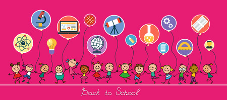 Back to school sketches with happy pupils.