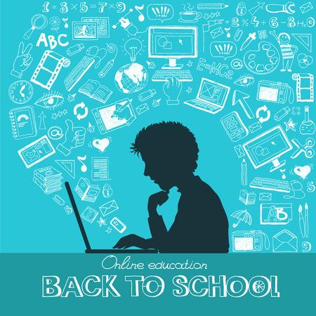 教育: 学校に戻る - フラット色のアイコン セットを落書き。