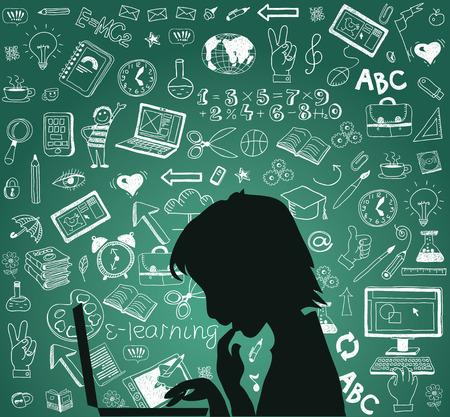 Back to school - doodle set, concept background education.  일러스트
