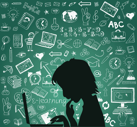 onderwijs: Terug naar school - doodle set, concept achtergrond onderwijs. Stock Illustratie