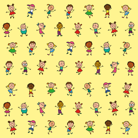 emotions faces: drawing of children for background