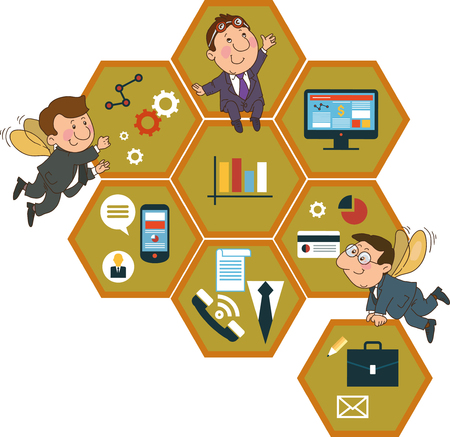 money management: Cartoon people on the background of the honeycomb structure with interface icons.