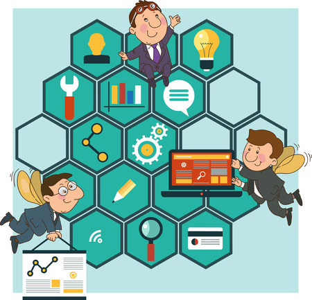 Hard Working people cartoon icons SEO optimization concept on the background of the honeycomb structure.