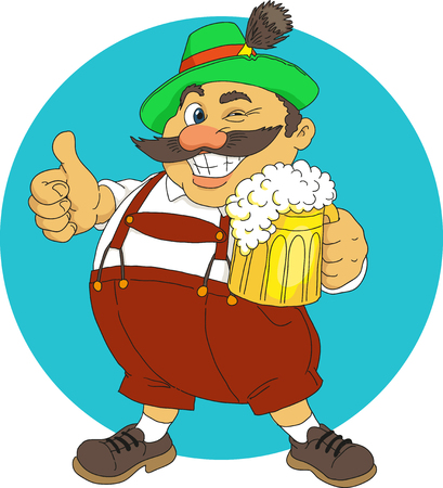 Bavarian with beer Illustration