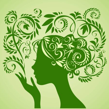 relaxation: Beauty girl silhouette and floral pattern.