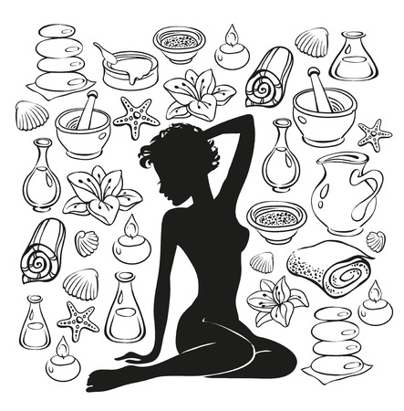 cellulit: Beauty girl silhouette and items for spa treatments.