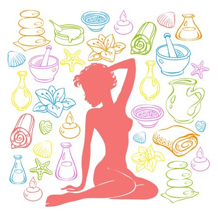 massage symbol: Beauty girl silhouette and items for spa treatments.
