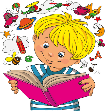 teaching children: A little boy studies on a book, objects take off from a book