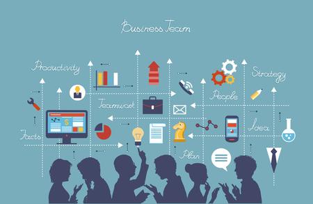 사업: 개념을 통해 비즈니스 사람들이 그룹. 일러스트