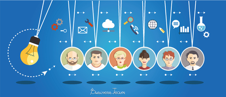 Business people group over conceptual. Silhouettes of people on a background of business icons. Partnership. Mind Map Team. Ilustração