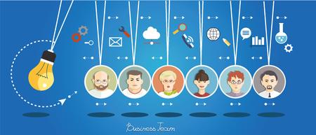 Mensen uit het bedrijfsleven groep over conceptuele. Silhouetten van mensen op een achtergrond van pictogrammen. Partnerschap. Mind Map Team. Stock Illustratie