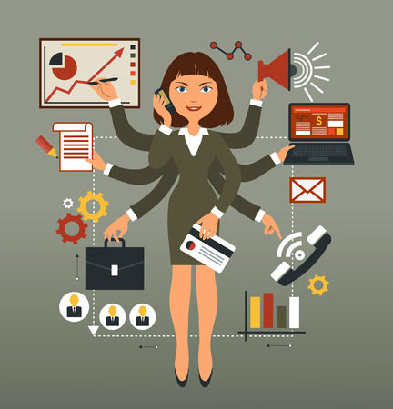 business roles: Business woman performs many leadership roles.