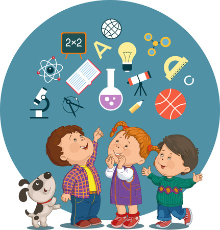 Conceptual illustration of cheerful children with education icons in a circle Ilustração