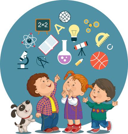Konzeptionelle Darstellung von fröhlichen Kindern mit Bildung Symbole in einem Kreis