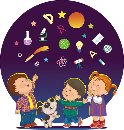 band of merry children look at the stars and icons of education