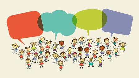 Handzeichnung Vektor-Illustration. Cartoon Kinder mit Sprechblasen.